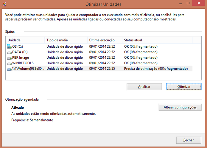 Desfragmentador de Disco Windows 8